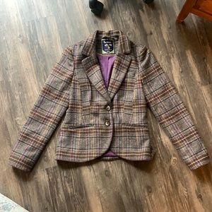 Boden British Tweed by Moon Plaid Wool Blazer